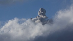 Volcanic gases and ashes clouds during explosive-effusive eruption volcano Stock Footage
