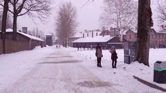 OSWIENCIM, POLAND -  Guided tour to Auschwitz Birkenau, former Stock Footage