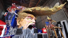 Carnival with Donald Trump caricature on allegoric cart in Viareggio, Italy Stock Footage