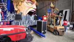 Carnival with Donald Trump caricature on allegoric cart in Viareggio, Italy Stock Footage