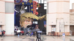 Carnival with Donald Trump caricature on allegoric cart in Viareggio, Tuscany Stock Footage