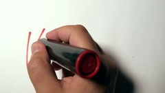 Hand Writing Welcome Using A Red Marker On A White Paper Stock Footage