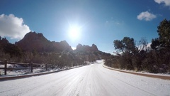 POV point of view - Driving through Garden of the Gods on late morning in the Wi Stock Footage