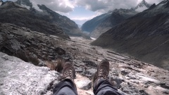 Trekking shoes agains the Andean valleys Stock Footage