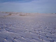 Aerial of North American Great Plains Prairie Grassland in Winter Snow Stock Footage