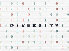 Finance concept: Diversity on wall background Stock Illustration