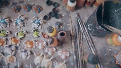 Set of brushes and paints on the table Stock Footage