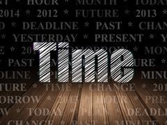 Timeline concept: Time in grunge dark room Piirros