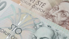 Tilting on paper Czech crown banknotes Stock Footage