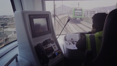 Fast train driver looking the rails Stock Footage