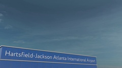 Commercial airplane landing at Hartsfield-Jackson Atlanta International Airport Stock Footage