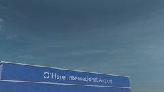 Commercial airplane landing at O'Hare International Airport 3D conceptual 4K Stock Footage