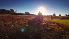 Beautiful reddish meadow countryside remote scenery gleaming sunshine sky Stock Footage