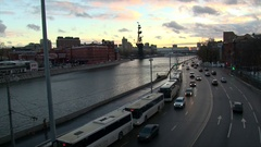 View from the Patriarchal bridge on Moscow river Stock Footage