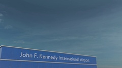 Commercial airplane landing at John F. Kennedy International Airport 3D Stock Footage