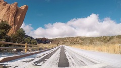 Driving through Garden of the Gods on late morning in the Winter. Stock Footage