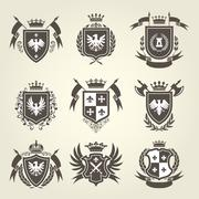Medieval royal coat of arms and knight emblems - heraldic shield crest Stock Illustration