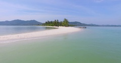 Aerial: Beautiful white sand beach with palm grove. Stock Footage