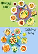 Nutritious dinner icon set for food theme design Stock Illustration