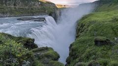 Gulfoss Waterfall in Iceland Stock Footage