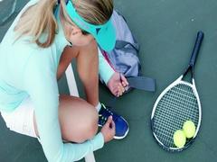 Sportswoman tying shoelace Stock Footage