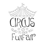 Hand Drawn Monochrome Glad To See You Vintage Circus Show Promotion Sign In Stock Illustration