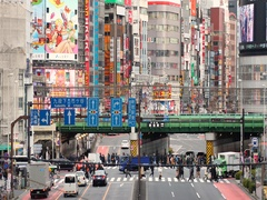 Slow motion footage of elevated rail track in Shinjuku, Tokyo, Japan Stock Footage