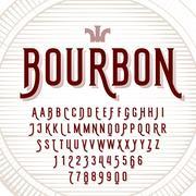Decorative typeface on wooden barrel Stock Illustration