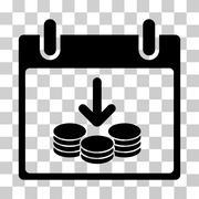 Coins Income Calendar Day Vector Icon Stock Illustration