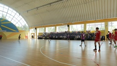 Handball match with young players passing the ball Stock Footage