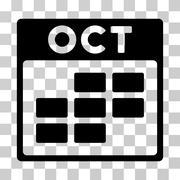 October Calendar Grid Vector Icon Stock Illustration