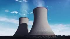 Smoked cooling tower of nuclear power plant, thermal plant, cloud sky view. Stock Footage