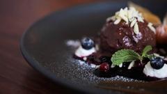 Chocolate ice cream dessert on plate Stock Footage