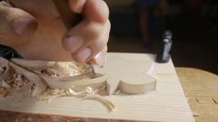 Hand sanding wooden decorative items, decorative elements, Stock Footage