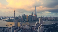 Shanghai Lujiazui business district Aerial Stock Footage