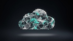 Numerous dots gather to create a Cloud sign, low-polygon web. Stock Footage