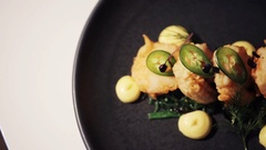 Close up of prawn salad with jalapeno and wakame Stock Footage
