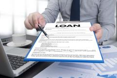 Business Support  COMMERCIAL LOAN , document and agreement signing Stock Photos