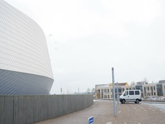 Parking area nd Blue Planet Den Bla Planet  National Aquarium Denmark visiting Stock Footage