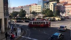 Lisbon City Square Martin Moniz Stock Footage