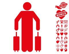 Passenger Luggage Icon with Valentine Bonus Stock Illustration