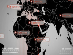 World   Digital Scan   Red   Centre   SD Stock Footage