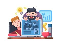 Web conference team Stock Illustration