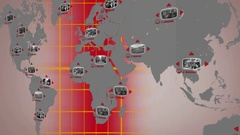 World   Digital Screen   Red   Centre Stock Footage