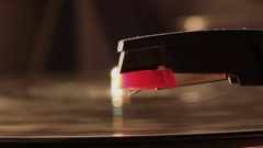 Romantic shot of an old record player starting up an old vinyl disc Stock Footage