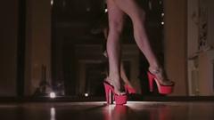 Beautiful Woman Doing Pole Dance, Young Pretty Female Dancing Stock Footage