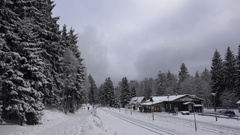 4k Harz mountain forest station Schierke in snowy winter Stock Footage