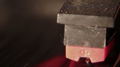 Closeup shot of a record player reading a vinyl disc Stock Footage
