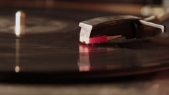Starting Up The Old record Player With An Old Vinyl Disc Stock Footage