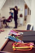 Assorted colourful artificial dreadlocks Stock Photos